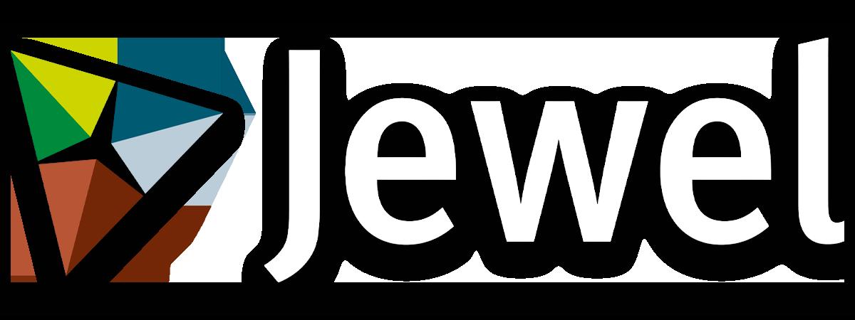 Jewel logo wit met slagschaduw